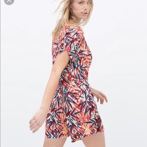 Zara Red Palm Tree Crossover Wrap Romper Large